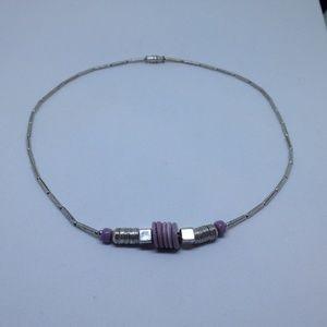 vintage silver tone purple flat bead necklace